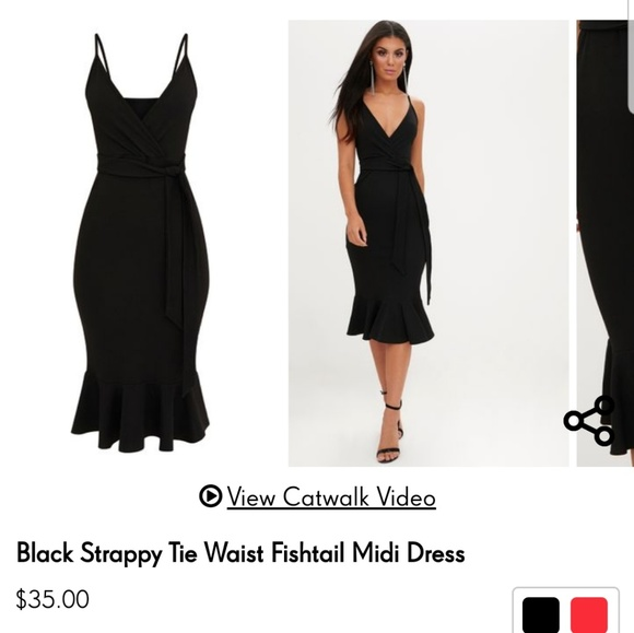 9150f6cdd084 PrettyLittleThing Dresses | Black Strappy Tie Waist Fishtail Midi ...
